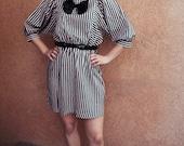 70s 80s STRIPED dolman batwing NEW WAVE dress