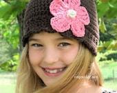 5T- Preteen Girls Hat Daisy Flapper Cap - chocolate brown, rose pink, ecru, natural cotton, photo prop