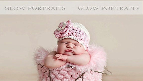 READY TO SHIP Newborn Baby Girl Hat Flower Hat - light cream, pastel pink, natural cotton, photo prop
