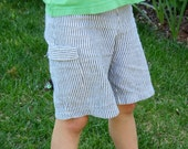 Boys Seersucker Cargo Shorts- size 18 mo to 8 years-Martha Stewart show