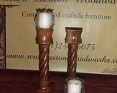 Black Walnut Spiral Candle Holders