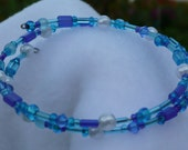 Turquoise Pearl Bracelet with Memory Wire and Shades of Blue Beads