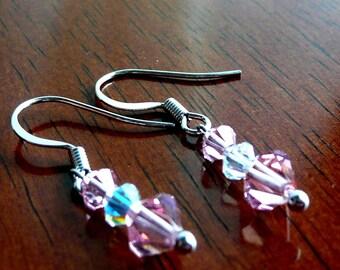 Dangle Earrings Pink Crystal Swarovski Earrings October Handmade