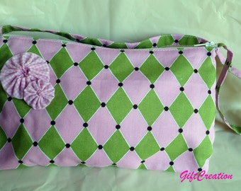 Purse Diamond Pink Green  Wheels Decor Handmade Fashion Girls Teen Women Ready to Ship