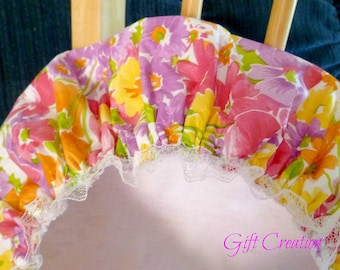 SALE Waterproof Shower Cap Pink Yellow Purple Wildflowers Durable Soft Vinyl Cap with Soft Fabric Liner