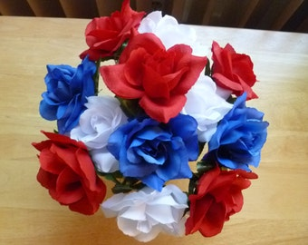 Flower Pen Set of 26 - Red White Blue Roses Wedding Bridal Shower Party Favors