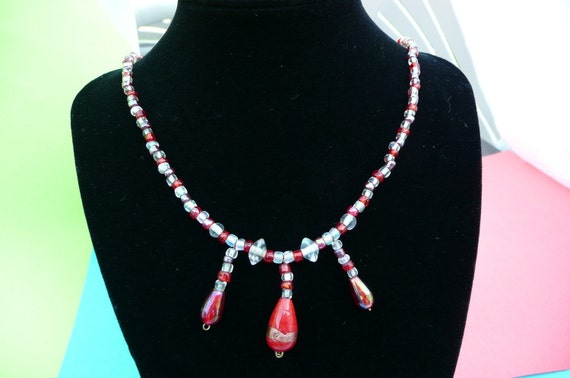Handmade Necklace Red White Gold  Fashion Charms Lampwork Beads Jewelry Women