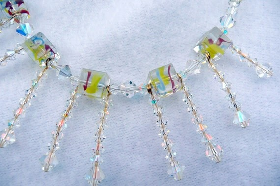 Swarowski Necklace Wedding Set Chocker Earrings Multicolored Crystals Colorful Swirles Beads