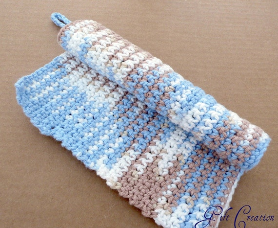 Soft Jumbo Washcloth Pot Holder Placemat Dishcloth Small Gift Blue White and Chocolate Colors