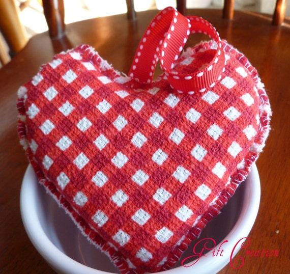 Red Heart Ornament Soft Checkered Dish Bath Sponge Pincushion Doorhanger Wedding Bridal Shower Gift