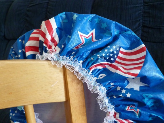 Shower Cap Waterproof Durable Soft Vinyl Cap Patriotic with Soft Fabric Liner LIMITED EDITION