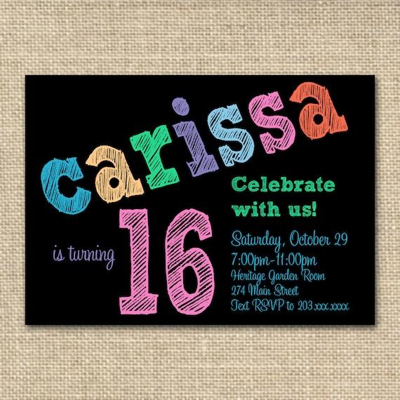 items similar to sweet 16 thirteenth birthday invitation chalkboard invitation neon colors on etsy