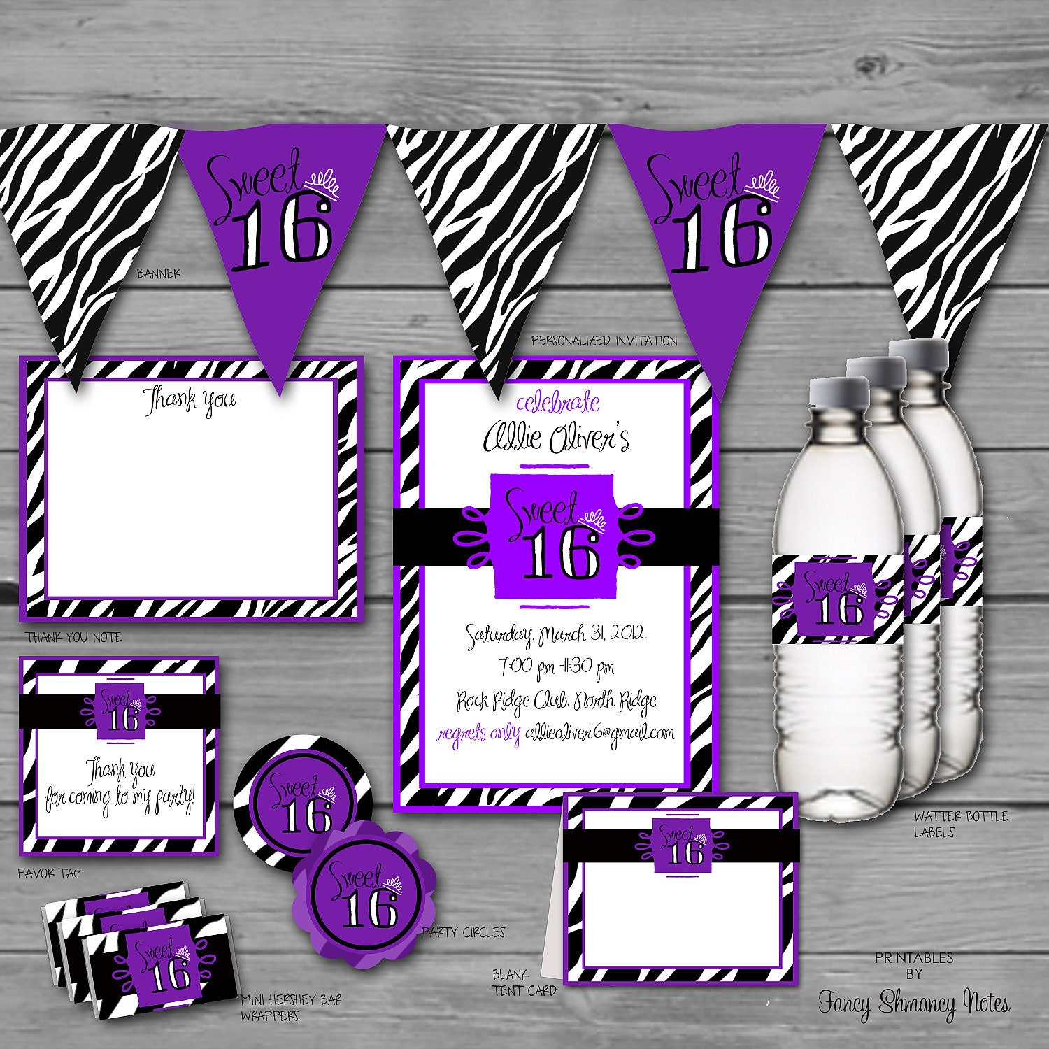 Sweet 16 zebra print instant download by fancyshmancynotes for Animal print decoration party
