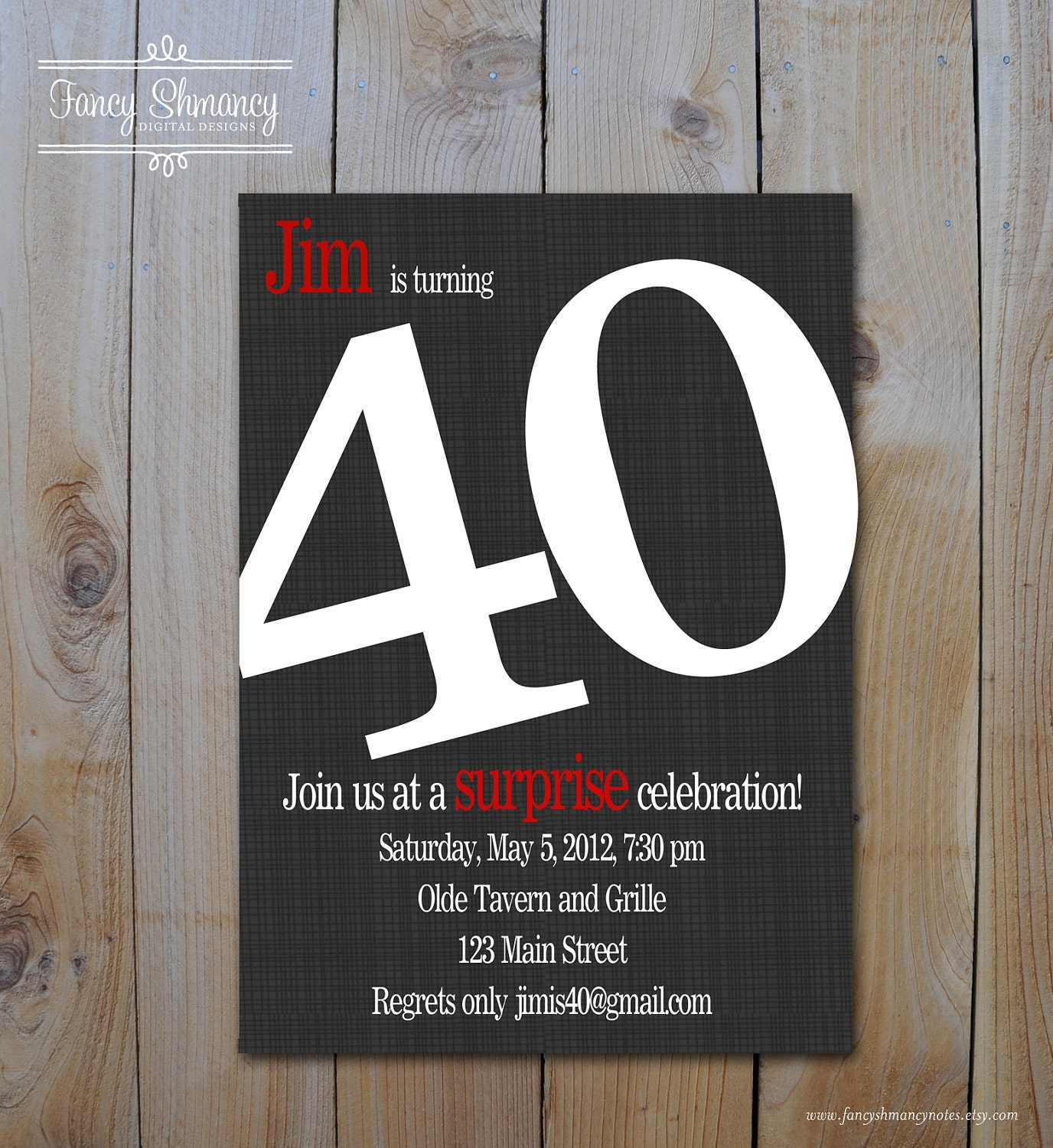 Mens th Birthday Invitation Bold Number Black and Red
