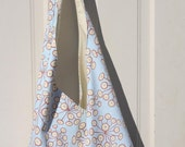 BLACK FRIDAY Slouch bag tote in light blue modern atomic print