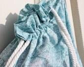 Yoga mat bag with pocket in robins egg blue floral