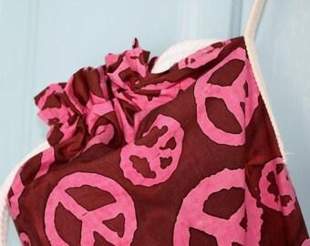 Yoga Mat Bag in chocolate cherry Peace Sign batik fabric