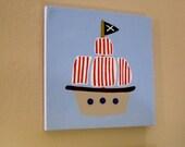 Pirate Ship Canvas Art for nursery, boys room or bathroom 12x12