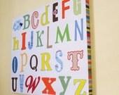 Bright ABC's Canvas Nursery Kids Wall Art 16x20