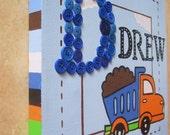 Construction Dump Truck Boys Personalized Wall Art