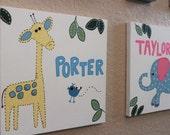 Safari Elephant and Giraffe Kids Bath Wall Art