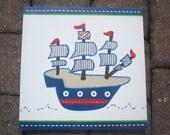 12x12 Pirate Ship Canvas for boys room or bathroom