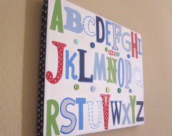 Jackson ABC's Nursery Wall art, 11x14 Blue, Green and Red