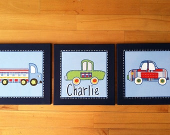"""3 pc """"Patrick"""" car and truck canvas art set for boys room or nursery"""