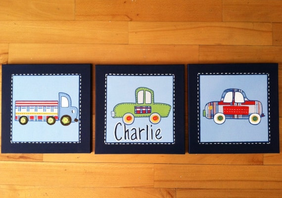 "3 pc ""Patrick"" car and truck canvas art set for boys room or nursery"
