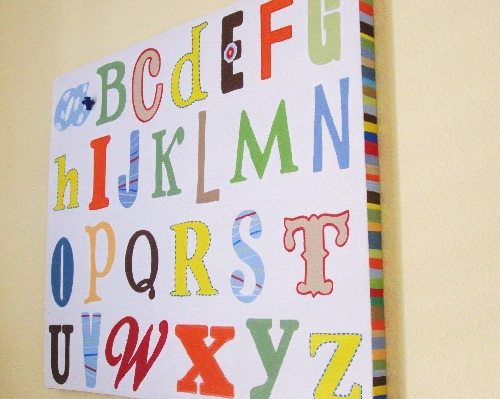 Bright ABC\u0027s Canvas Nursery Kids Wall Art 16x20 Part 32