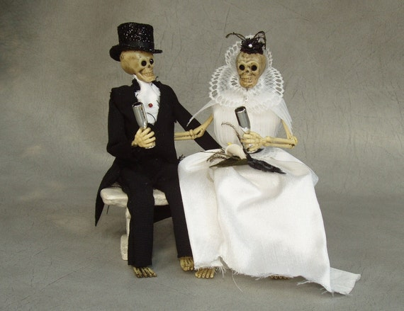 LOVE for Eternity Skeleton Bride and Groom Wedding Cake Topper by PURPLEMADISON on Etsy