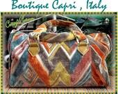 One Of A Kind - Vintage 60s Made In Italy for Boutique Capri MOD Retro Carpet Checnille SPEEDY Doctor Bag SATCHEL Purse Handbag