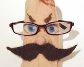 Felt Case Cell Phone and Eyeglasses  - Moustached man Gift under 25