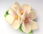 Felted Barrette hair - cherry blossoms under 25