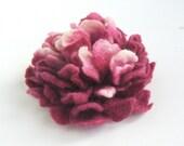 RESERVED Felt flower brooch -  Dark red  Peony under 25