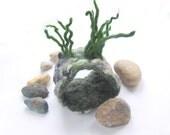 Felted bracelet Unisex Grey stones Grass