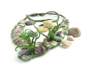 Reserve for Sandy   Felted  necklace  -  Grey stones Green Grass