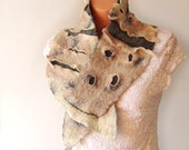 Felted scarf belt - Grey Beige - On the moon