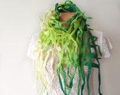 Felted scarf belt   net  White Green Lime
