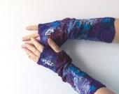 Felted fingerless gloves Mittens -  Dark blue burgund purple violet