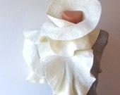 Felted scarf ruffle collar White ruffle scarf women scarf by GalaFilc