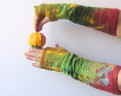 Felted fingerless gloves mittens -  fox, green, yellow, red,