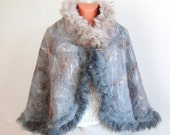 Felted capelet poncho wrap cap Fur  grey