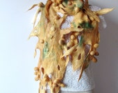 Nuno felted scarf Yellow Green Savanna shibori