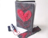 Felted journal notebook cover  Grey red heart  day gift