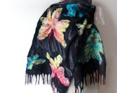 Felted scarf stole Black Butterfly under 100