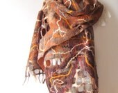 Nuno felted scarf  Brown ginger fox Autumn