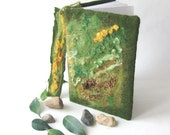 Felted journal notebook cover  Green moss  day gift spring