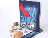 Felted journal notebook cover  Blue red fish sea gift under 25