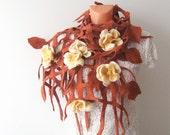 Felted scarf belt  net  Brown leaves beige Flowers